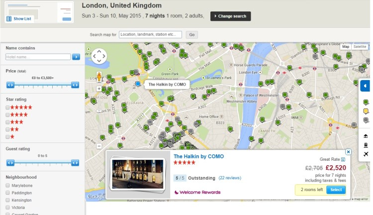 Map of hotels in London