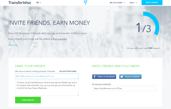 transferwise invite friends